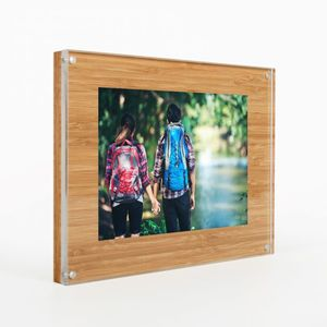 Medium and large Moxon Magnetic Acrylic wood picture frame with wooden back