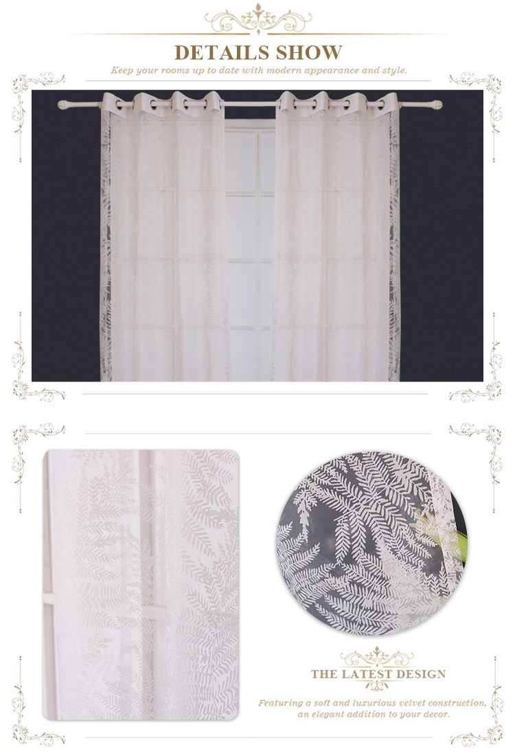 Cheap Custom White Burn Out Luxury Modern  Polyester Window Sheer Curtain Fabric For The Living Room