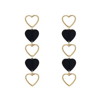 99257 xuping fashon heart love stainless steel jewelry long drop earring
