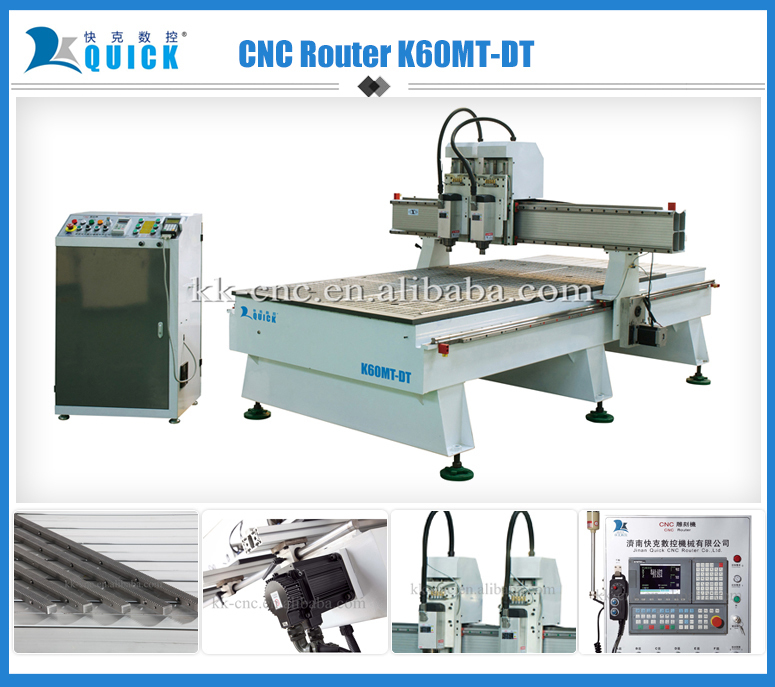 Hot sale 3d carpentry cutting and engraving CNC Router K60MT-DT,2 heads wood machine,6 kw air-cooling spindle