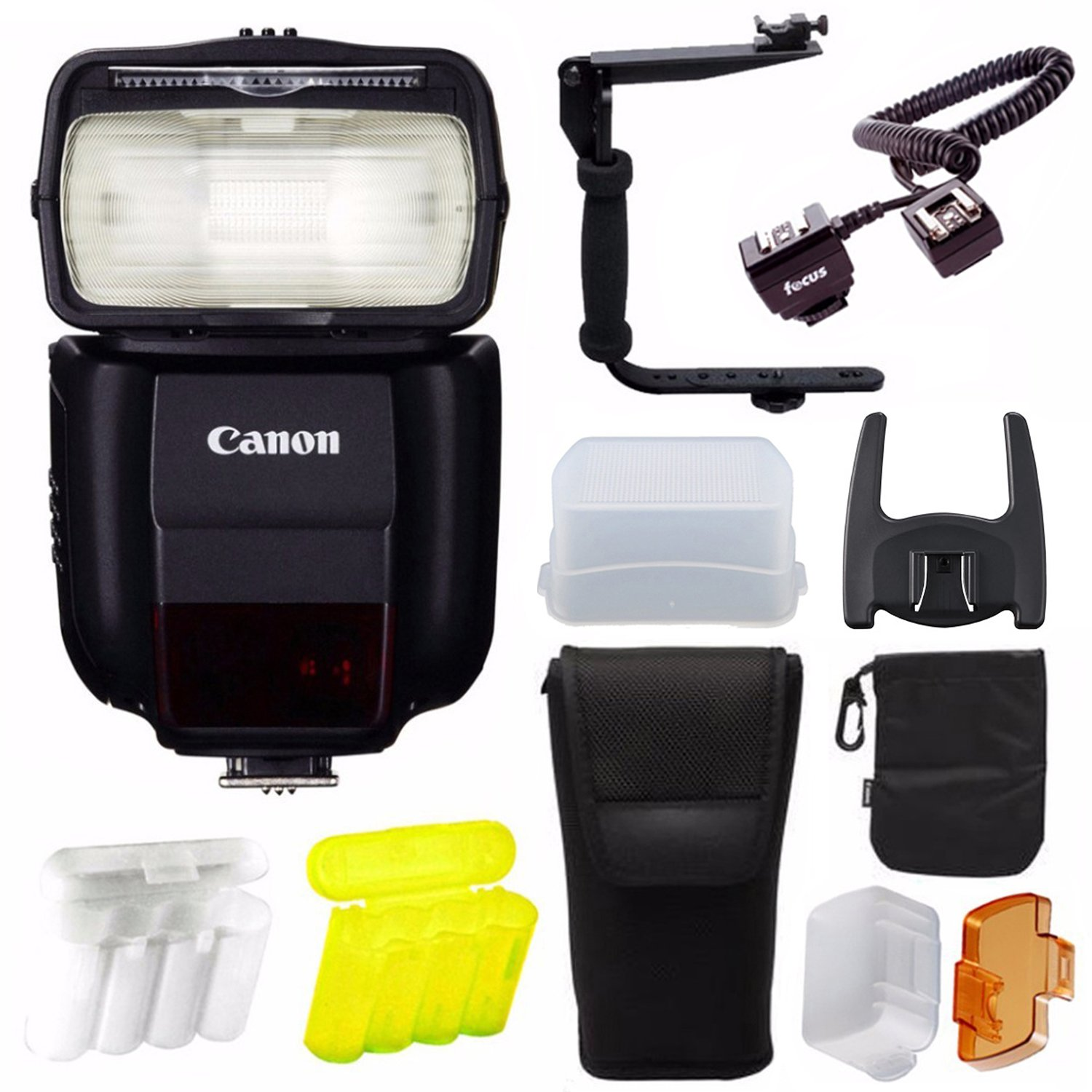 Canon Speedlite 430EX III-RT Guide Number 141 at ISO 100 Flashpoint TTL-Off Camera Flash Cord EOS 3 Bundle with 4 AA Ni-MH Batteries with Charger Mini SoftBox Diffuser