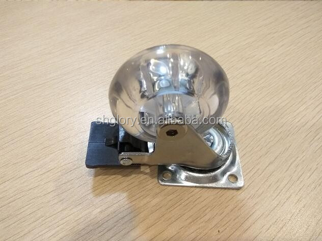Transparent swivel PU caster, chrome plated medical caster