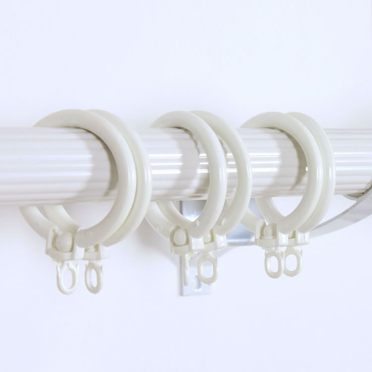 Buy Lot Of 48 White Plastic Curtain Pole Rod Rings 28Mm Id 40Mm Od ...