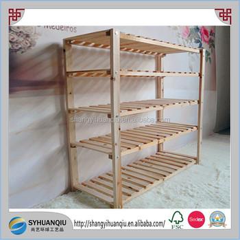 5 Tire Pine Wooden Shoe Rack Storage Organiser Stackable Shelf Stand