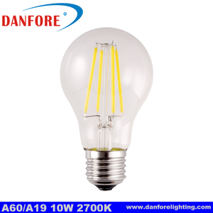10W super bright 360degree glass cover E27 base A19 Filament LED Bulb Light