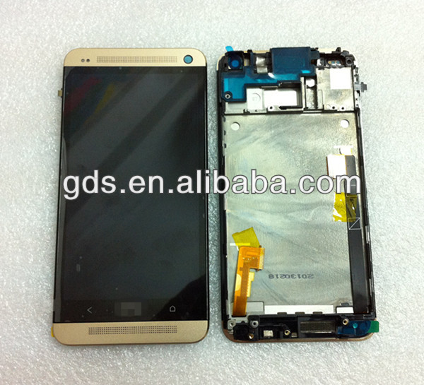 Gold color Lcd Touch Digitizer Screen with Frame Assembly For HTC ONE M7 801E
