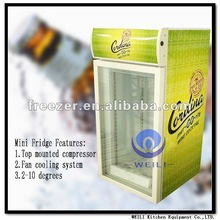 Mini Fridge/LED Light Beverage Cooler/Supermarket promotional refrigerator