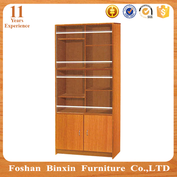 Living Room Furniture RB713 Two Door MDF Bookcase Particle Board PVC Bookshelf Cabnit