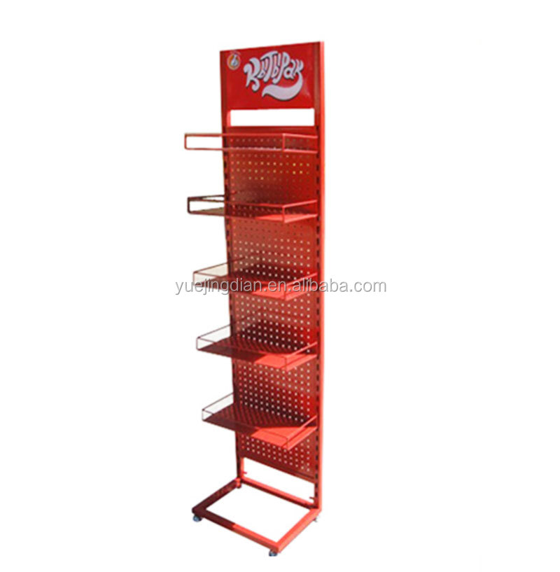 Red color potato chips display stand metal flooring snack display shelf foods display rack for hot selling
