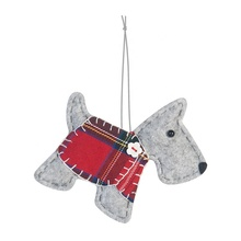 Grey dog plaid trui xmas gift items 5 inch <span class=keywords><strong>vakantie</strong></span> opknoping decoratie party vilt kerst ornament
