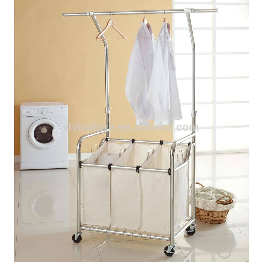 Laundry Hanging Bar High Quality Laundry Hamper With Lift Hanger And Laundry Sorter