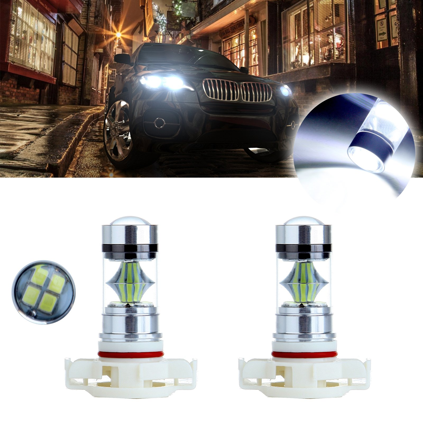 LABBYWAY 2 X 1000 Lumens Super Bright 6000K Bulbs H16 5202 5201 9009 LED Used For DRL or fog Lights Replacement,Xenon White