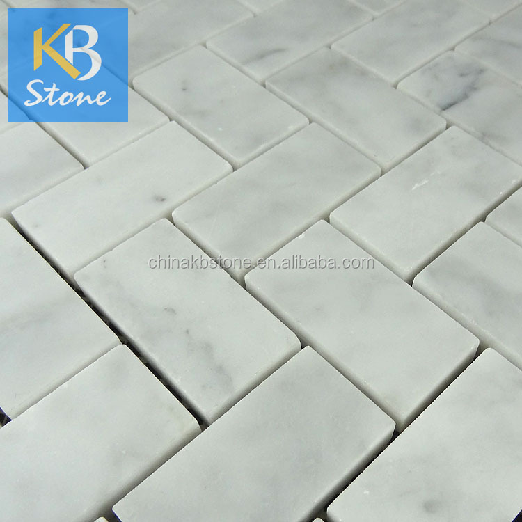 Wholesale 25x48 wholesale herringbone types white marble mosaic ...
