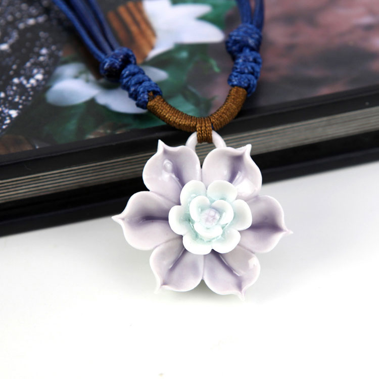 chinese character necklace pendants, Ceramic jewelry necklace, handmade ceramic flower braided rope necklace pendant