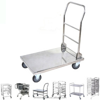Stainless Steel Foldable bellman luggage platform trolley cart hotel restaurant equiment