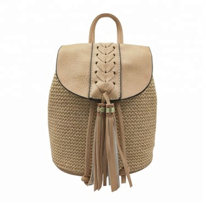 2018 New trend straw weave woven fashion design backpack designer handbag