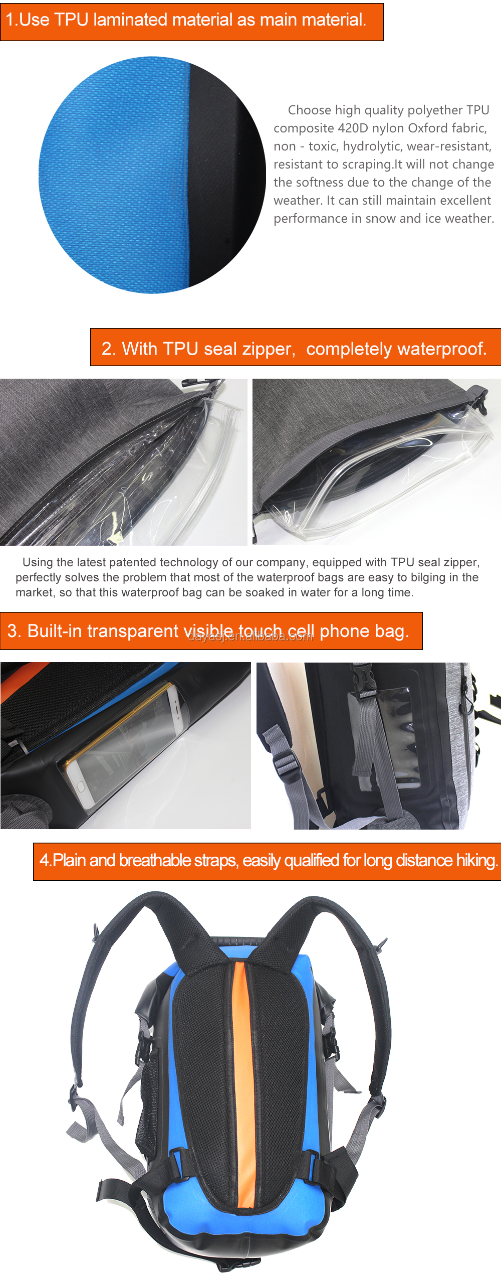 e9702664cfc4 MARJAQE Patented Product 100% Waterproof Wet Separated Bag TPU Waterproof  Backpack