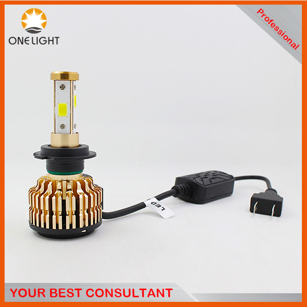 New Unique T4 led light car front lamp built-in canbus high power 4 side cob bright auto led headlight with fan