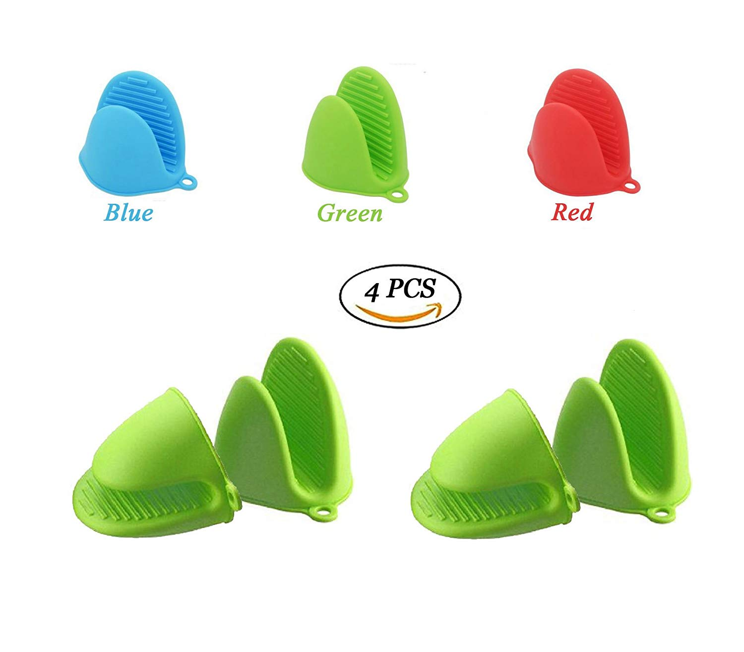 4 PCS Bestga Silicone Pot Holder Mini Oven Mitt Cooking Pinch Grips Kitchen Heat Resistant Solution Cooking Baking Potholders,Green