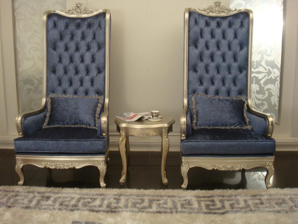 Elegant Blue Velvet High Back King Style Sofa Set In Danxueya Manufacturer