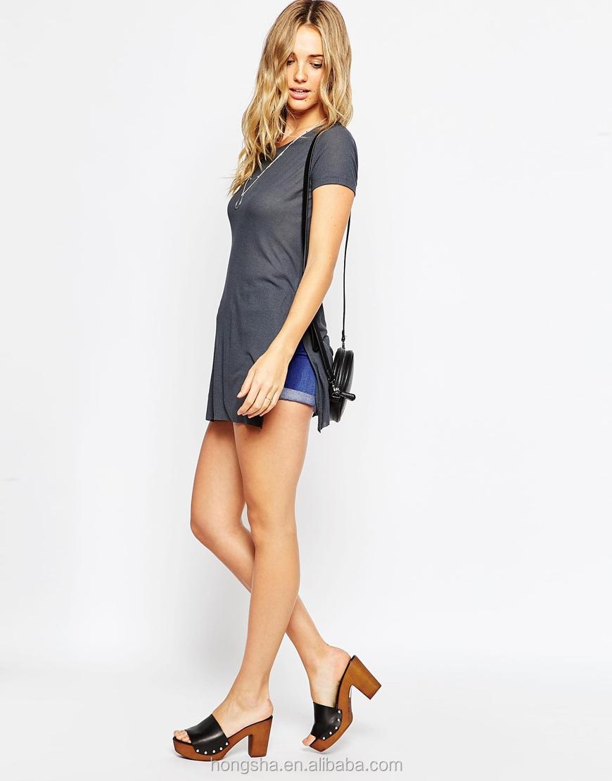 Shirt design female - Tunic Top With Split Longline Women T Shirt Design Hst7844