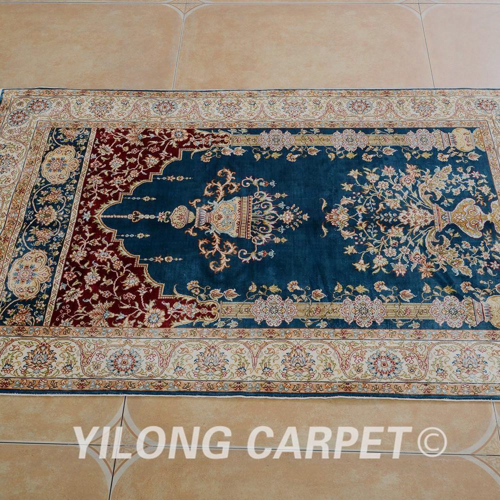 Yilong 2 5 X4 1 Petit Tapis De Priere Persan Bleu Couleur Soie A