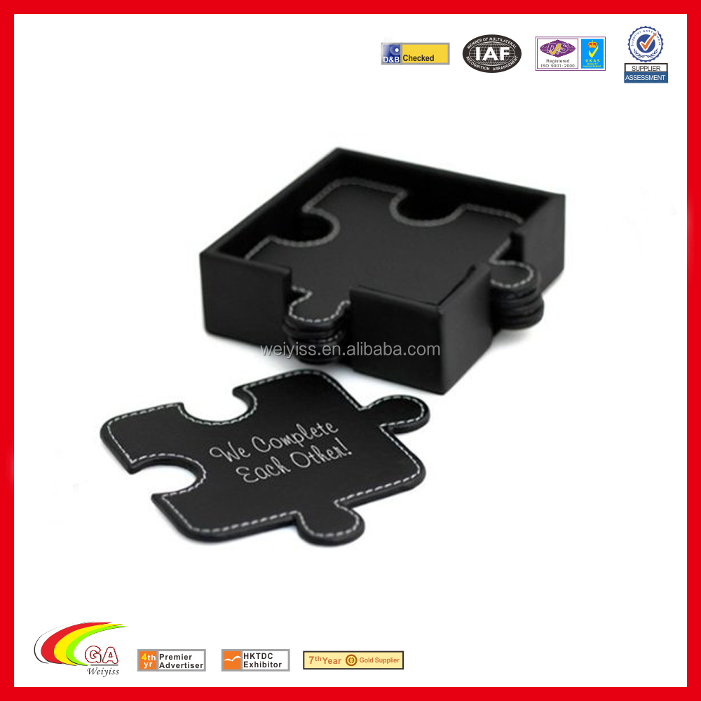 wholesale black leather puzzle style 6pcs tea cup mat pad coaster