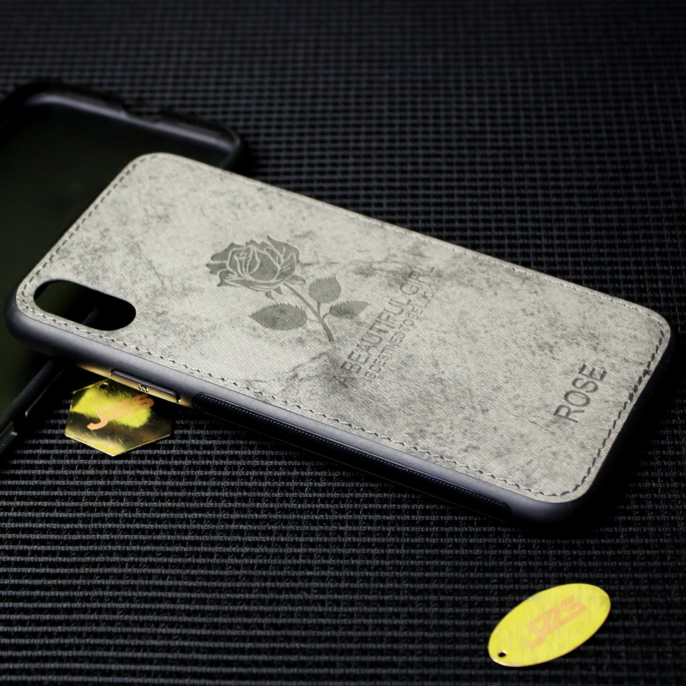 Cloth embossed TPU+PU Emboss Printing Deer Pattern leather Skin TPU Phone Case Back Cover