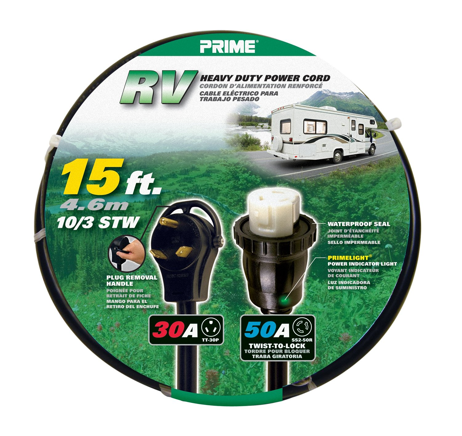 Prime RV3050T915 RV Power Cord, 15 ft.30 Amp right angle plug with handle and 50 Amp Twist-to-Lock Connector
