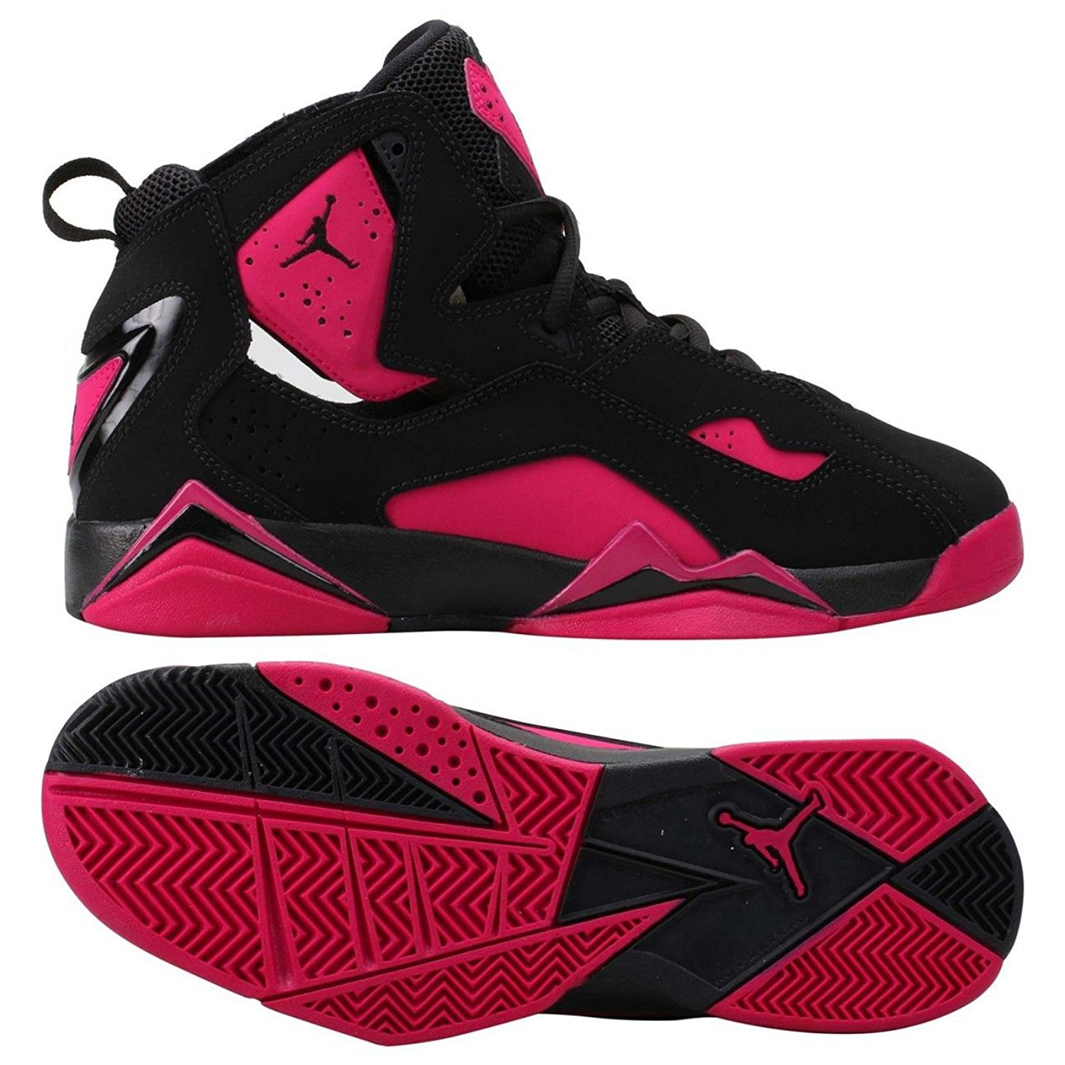 11dc1ee7e55eb9 Get Quotations · Nike Air Jordan True Flight GG 342774-006 Black Sport  Fuchsia Kids Shoes