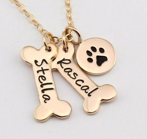 Name Necklace Dog Paw Necklace Personalized Dog Necklace Paw Print Dog Bone Initial Charm Pet Jewelry
