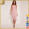 2016 high quality spaghetti strap lace pink bodycon backless midi dress