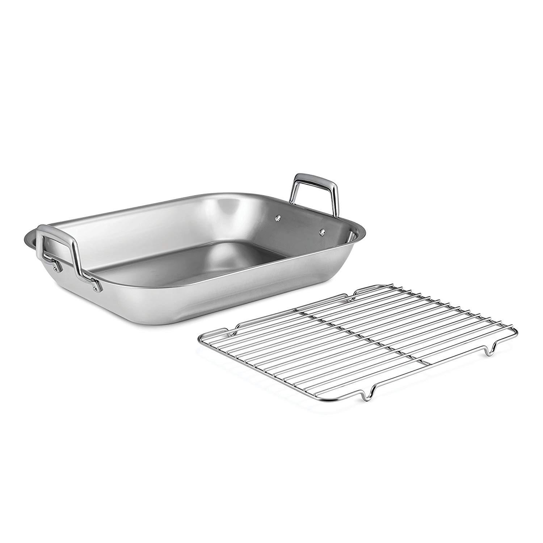 37 x 28cm 14.5 x Kitchencraft Medium Stainless Steel Roasting Tin With Rack