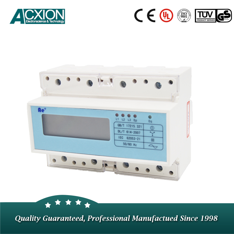 DIN Rail 3 Phase 4 Wire KWH Meter