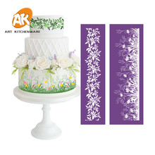 AK Fondant Cake Decorating Soft Transparent Grass Flower Icing Pastry Tools Wedding and Birthday Cake Mesh Stencil