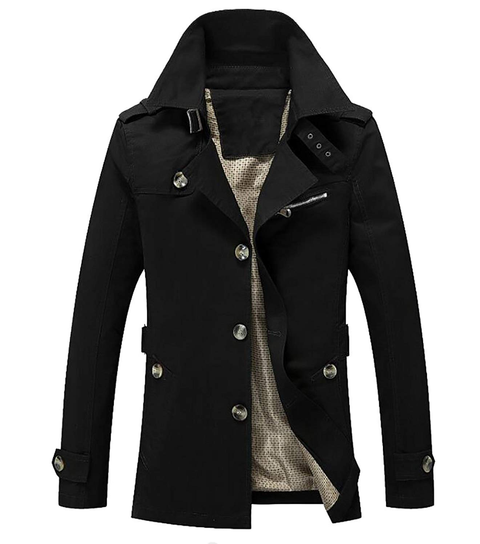 YYG Mens Winter Zip Up Stand Collar Thicken Regular Fit Down Quilted Coat Jacket Overcoat