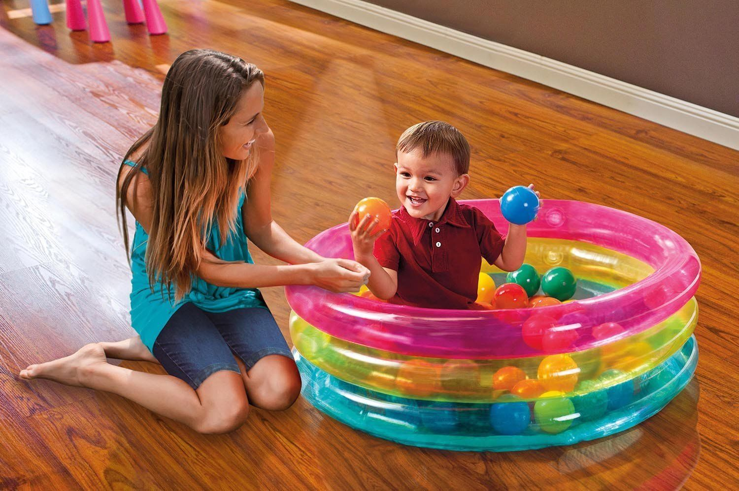 INTEX 48674 Inflatable Classic 3-Ring Baby Ball Pit Pool