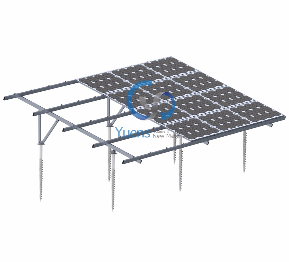 Utility Grid Connected Solar System On Open Field Support Rack