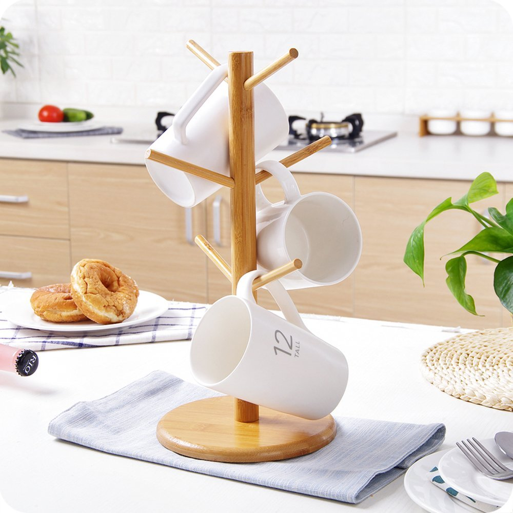 Tree Rack Wooden Kitchen Display Mug Stand Storage Coffee Tea Cup Organizer