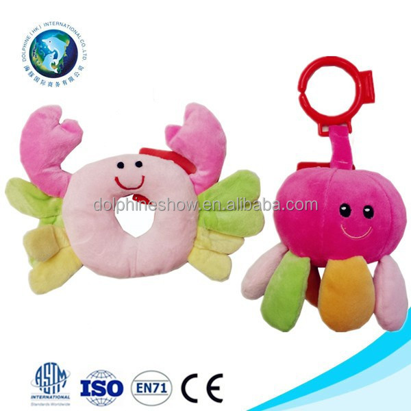 Best quality baby plush musical toy fashion cute soft plush crab and octopus organic baby toy