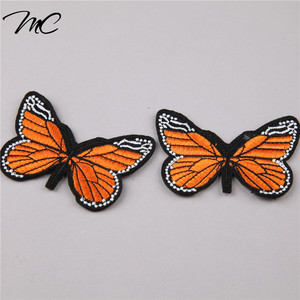 Fashion 3D embroidered butterfly badges patches for shoes