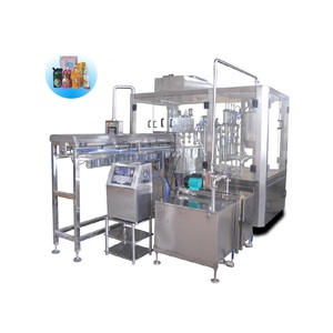 Automatic doypack pouch filling and capping machine with air flushing and inkjet printer