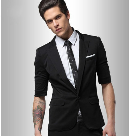 Men's Short Sleeve Slim Fit Wool Black Suits With Chest Pocket