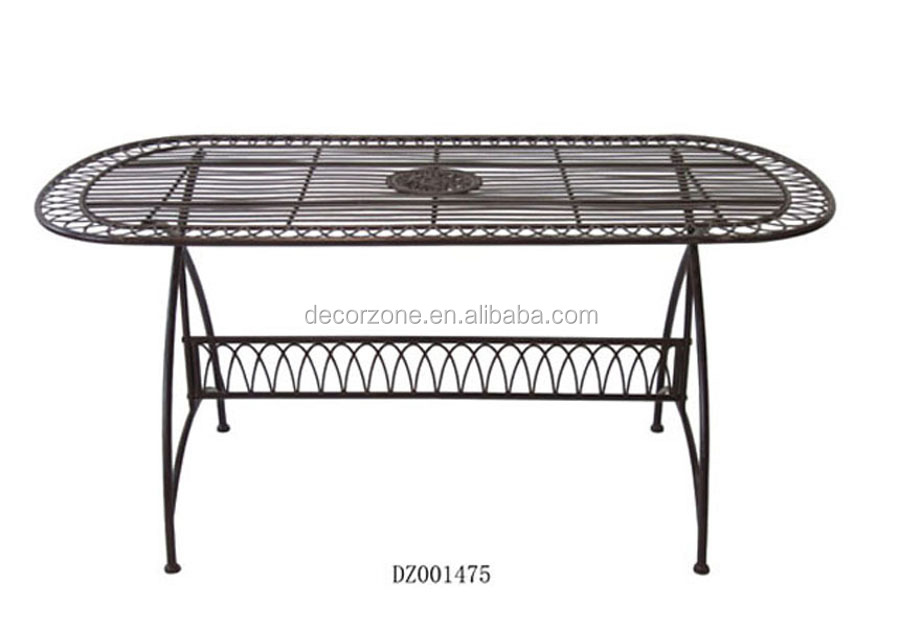 Outdoor Metal Oval Dining Table Designs With Cheap Price