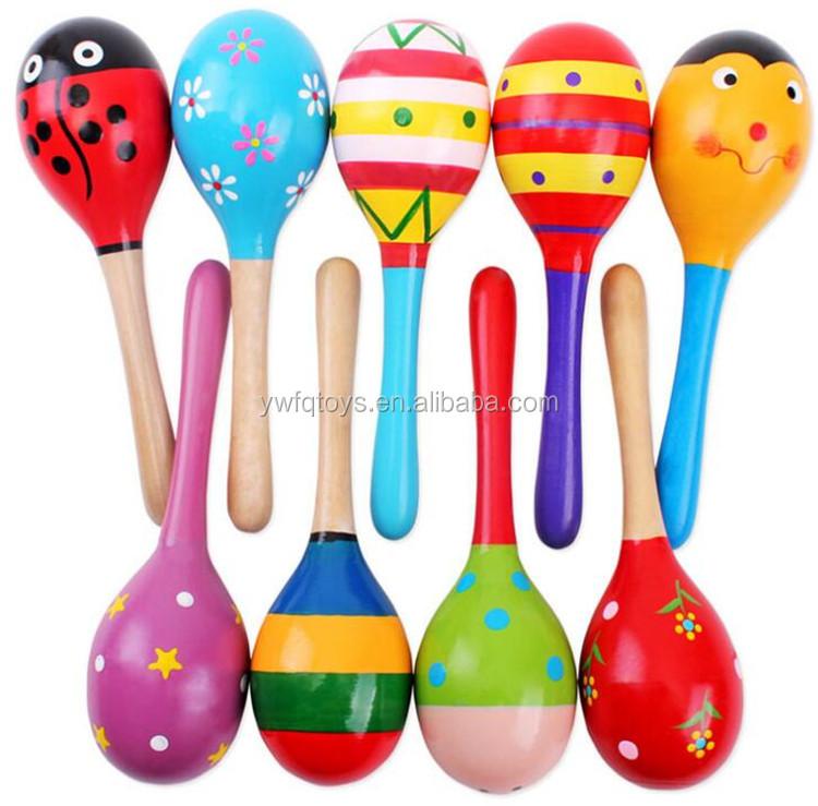 FQยี่ห้อขายส่งใหม่M Aracaไม้เขย่าไข่ปั่นของเล่นเด็กไม้ที่กำหนดเองmaracasสำหรับเด็ก