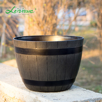 Leizisure Plastic Wood texture Barrel Flower Pot Home Garden Rustic Round Bucket Planter