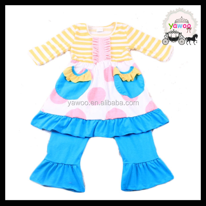 2016 baby boutique clothing online pocket design childrens dress wear stripes top trendy baby clothing sets outfits