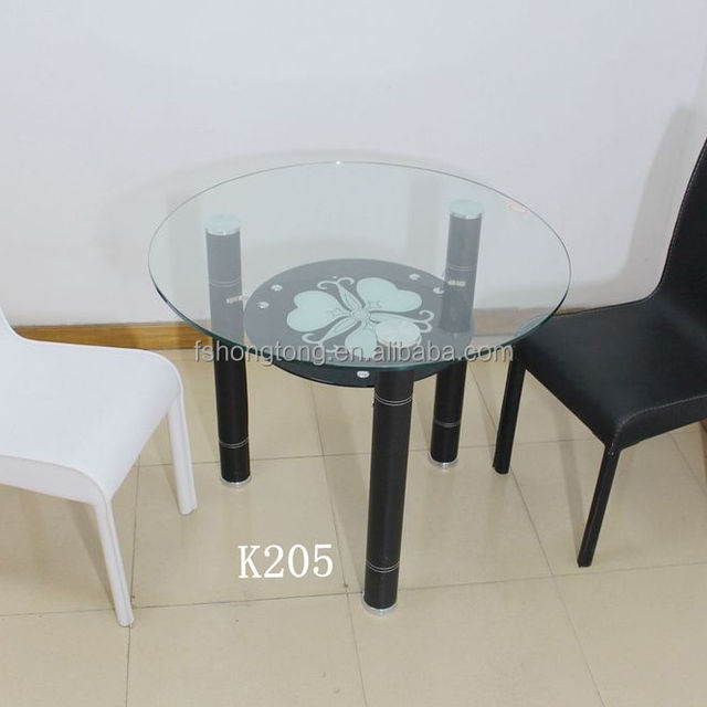 Round Glass Dining Table Set, Centre Table Designs , Tempered Glass  Furniture