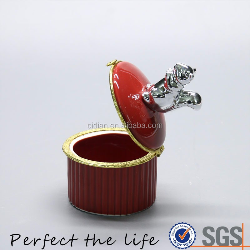 Red Ceramic Jewelry box with silver plating squirrel jewelry decorative ceramic box