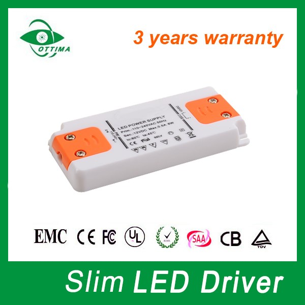 Ultra thin led driver waterproof ip67 12V/24V led strip power supply 500mA 6w